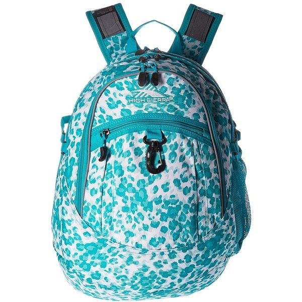 High Sierra Fat Boy Backpack (Tropic Leopard/Tropic Teal) Backpack... ($30) ❤ liked on Polyvore featuring bags, backpacks, high sierra, padded bag, shoulder strap bags, backpack bags and teal backpack