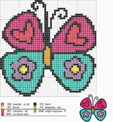 Mariposa en punto de cruz. | Cross stitch butterflies | Pinterest