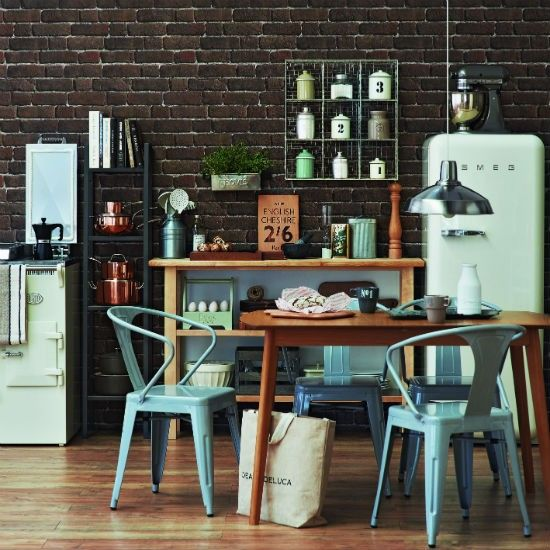 Give your kitchen a quick update with brick-effect wallpaper for a cool industrial look. Freestanding kitchen units, wire shelving and utility-style chairs add factory style. Read more at http://www.housetohome.co.uk/room-idea/picture/10-best-kitchen-design-ideas/10#uOEqWtDIUAfO1mg2.99