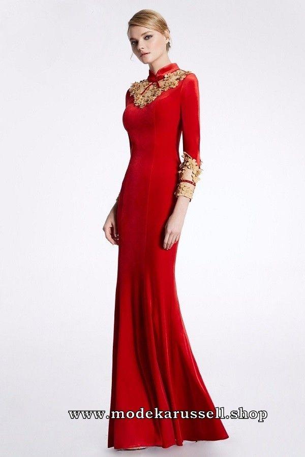 Langarm Abendkleid Rita in Rot