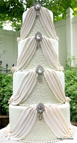 Wedding cake with pretty drapes. FWhite. @Celebstylewed