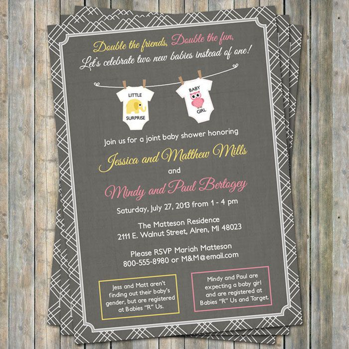 Joint Baby Shower Invitation onesies by freshlysqueezedcards