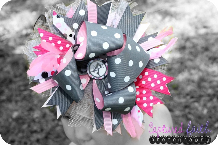 Grey & Pink Gumball Dot Over-the-Top Hair Bow w/ Customizable Initial Center