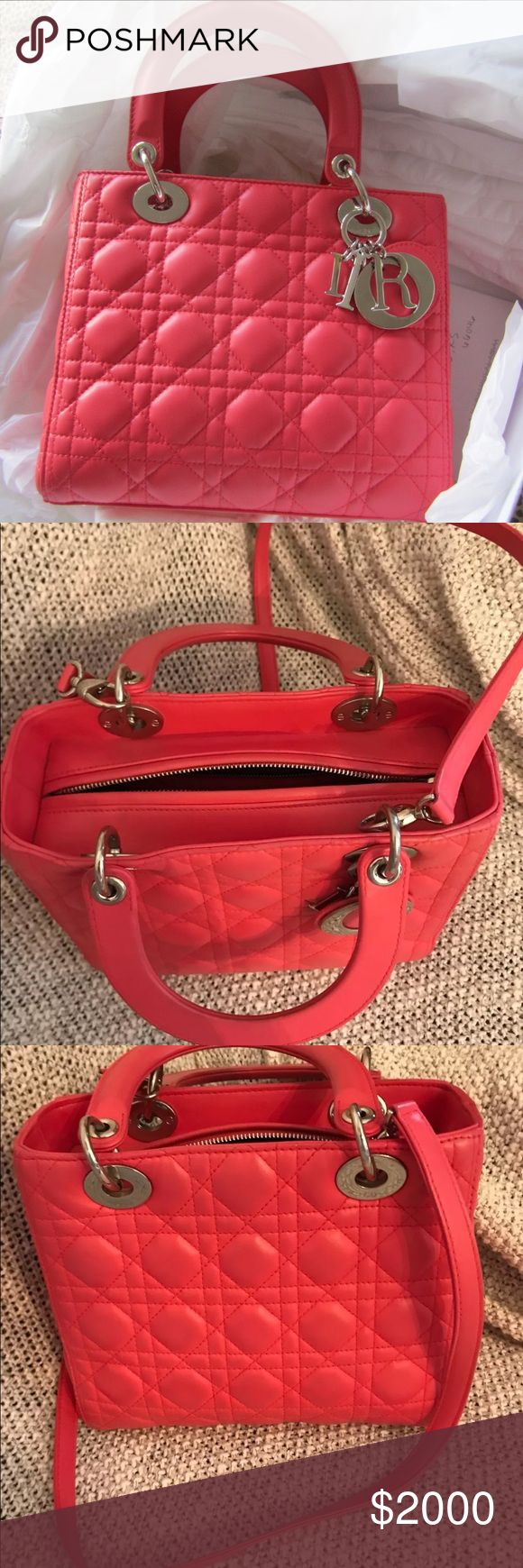 Lady Dior Lambskin Bag Up for sale authentic Christian Dior Lady Dior bag in Coral pink color. This bag has been used gently for less than 10 times since purchased. Retail: $4,500. No trades ever Dior Bags