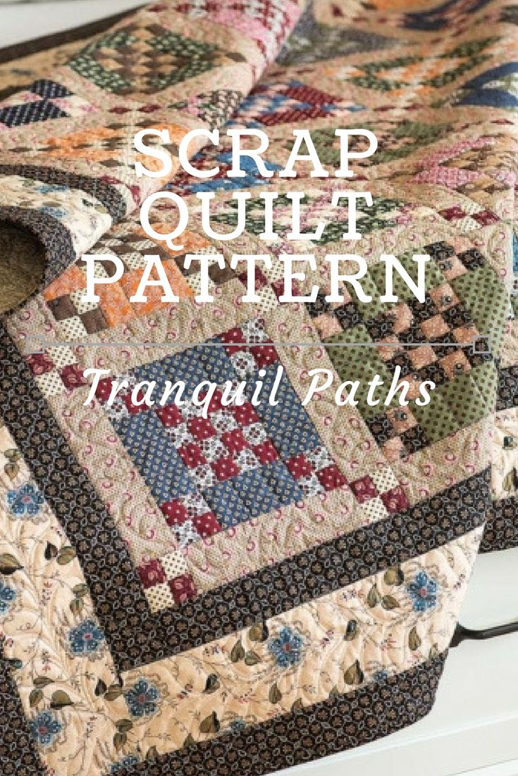 """Here's a scrap quilt pattern worth your time! Made up in muted prints, Krisanne Watkins' quilt design proves you don't need bright colors for a """"wow"""" effect. The easy quilt block is nothing more than a 16-patch surrounded by large rectangles and matching 4-patch units. We love it! #ScrapQuilts #ScrapQuiltPatterns"""
