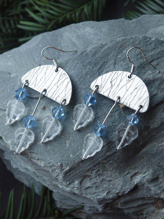 winter earrings, aluminum earrings, aluminum winter earrings, frosty aluminum earrings, aluminium earrings, WINTER, Sterling Silver Earwires