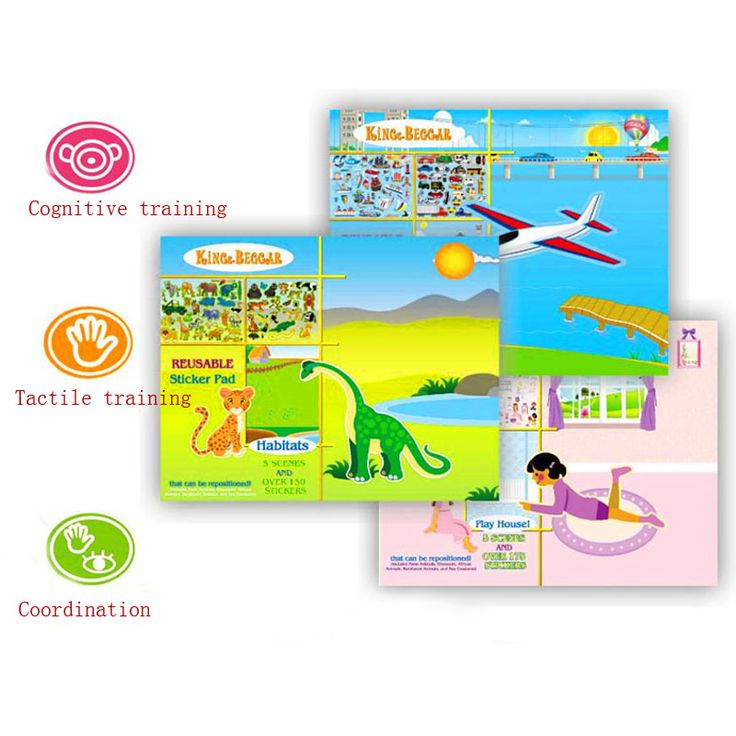Tresbro new design No stick marks  repeated paste sticker painting Static film stickers book for baby  sticker painting 2011