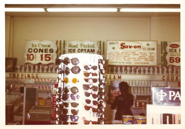 Drug Store Soda Fountain Vintage Color Snapshot Sunglasses Display Planters Peanuts Sav-On Ice Cream Found Photo