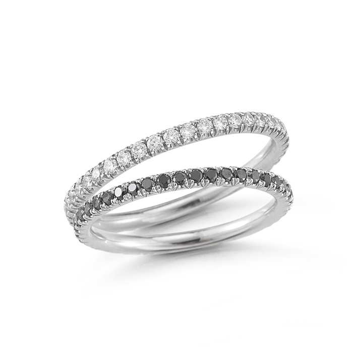 One Point Micro Pave Diamond Eternity Bands With White Diamonds And The Other