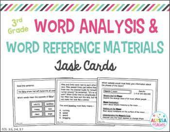 Students can use these 20 task cards to review word analysis strategies and word reference materials (aligned with Reading SOL 3.3, 3.4, and 3.7). Great activity to add to your SOL test review!