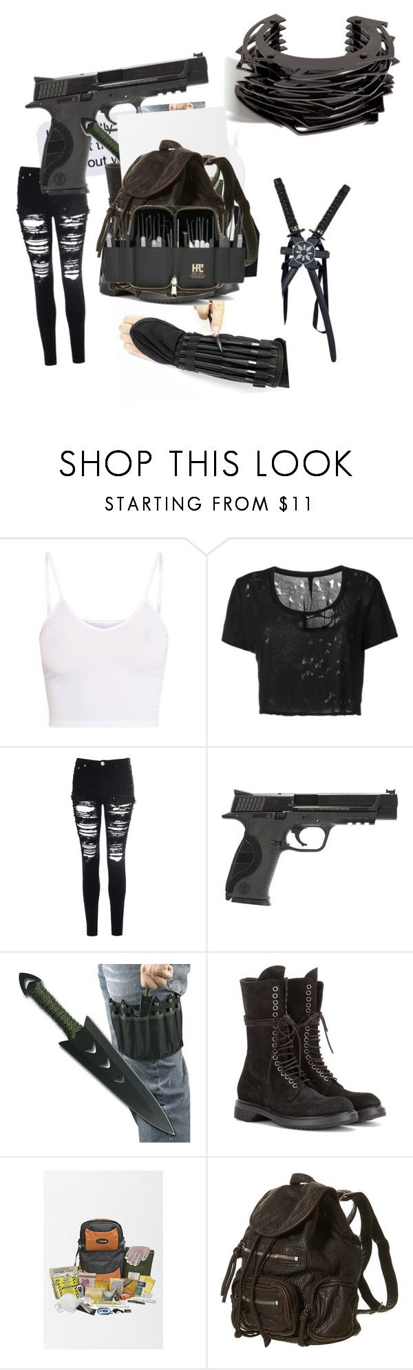 """Untitled #90"" by randommorelikefandom on Polyvore featuring Unravel, Glamorous, Smith & Wesson, Rick Owens and Lynn Ban"