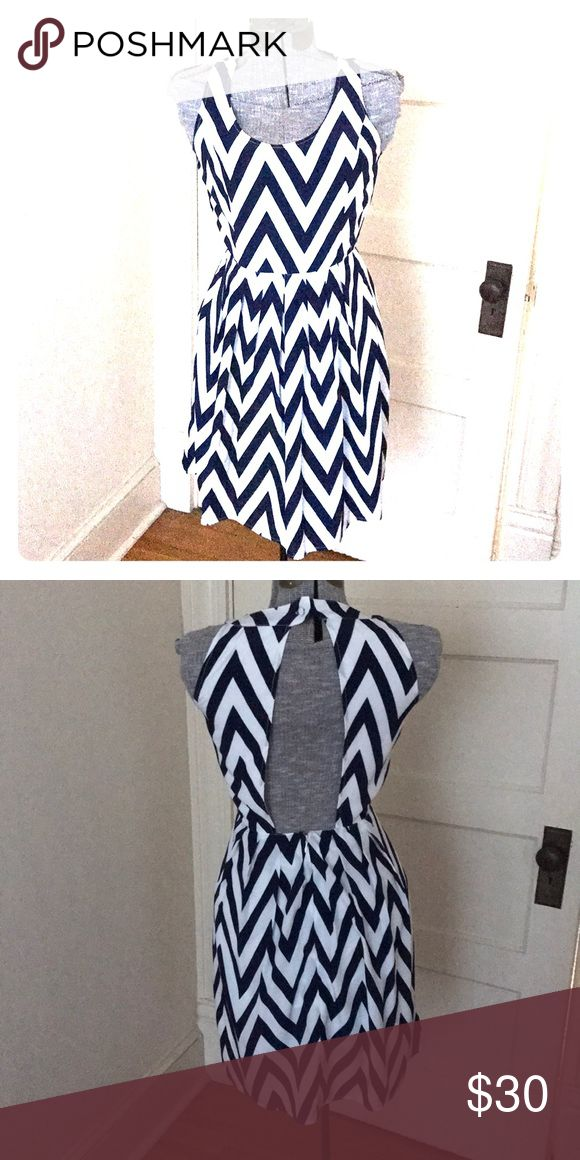 Navy Chevron Dress Size small Navy blue and white chevron Scoop neck  Open-back Dresses