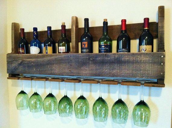 for Downstairs Bar - Rustic Wine Rack Reclaimed Wood Handmade by GreatLakesReclaimed, $59.00