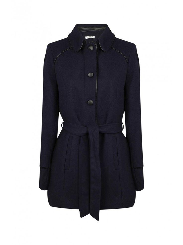 Naf naf nouvelle co h15 manteau cintré avec col bleu marine 1