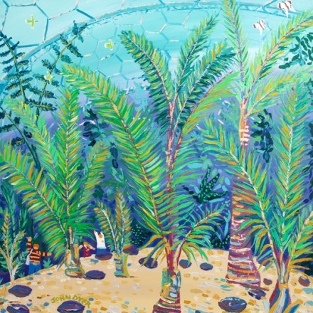 Palm Beach at Eden. The Eden Project. Artist in Residence. Original Painting by John Dyer