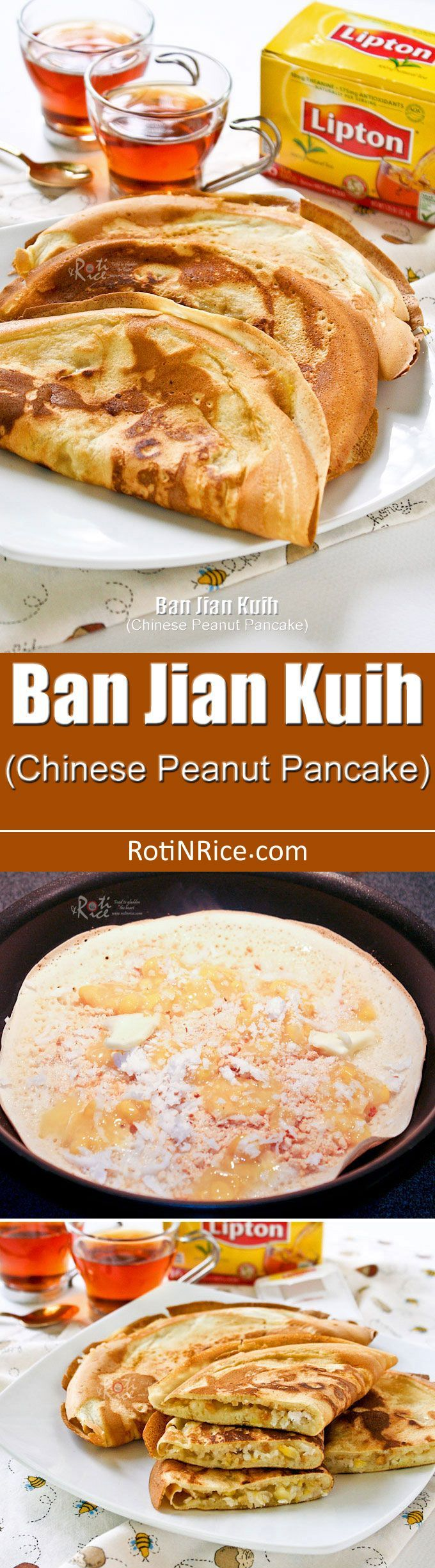 Delicious homemade Ban Jian Kuih (Chinese Peanut Pancake) with chopped peanuts, cream style corn, and grated coconut filling. | RotiNRice.com