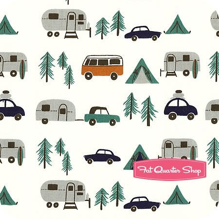 Beach Mod Circa 60 Happy Camping , Birch by Monaluna, $16.50: Camps Fabrics, 60 Beaches, Happy Camps, Fabrics Patterns, Camps Graphics, Camps Patterns, Fabrics For Campers, Happy Campers, Beaches Mod