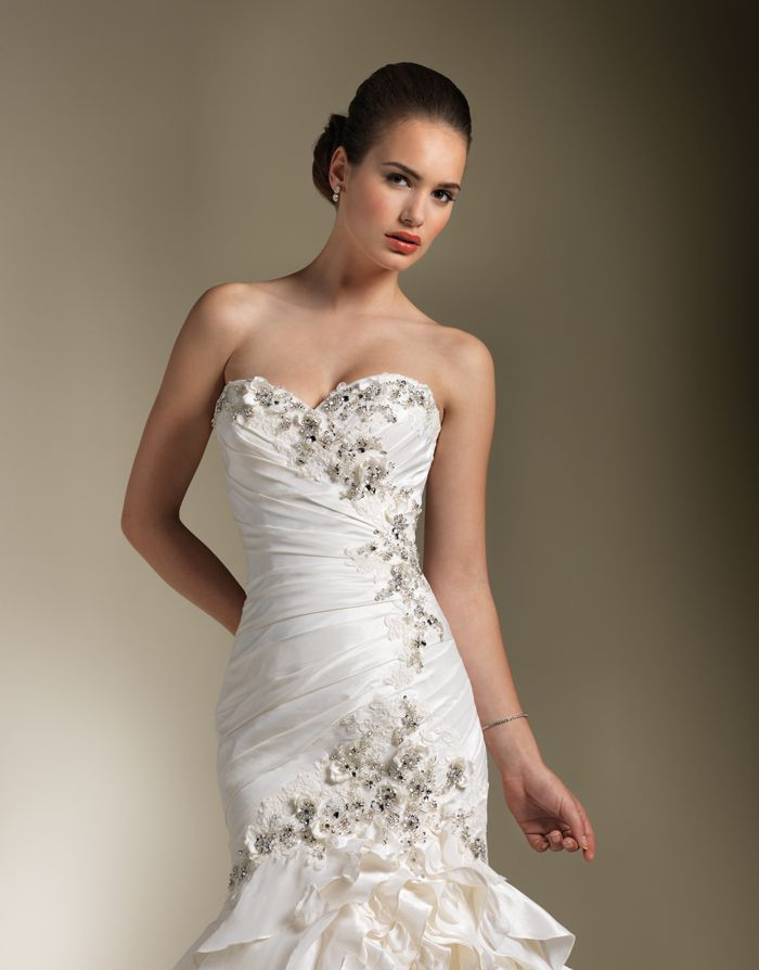 Cheap Bridal Shop First-rate Mermaid Sweetheart Applique Beading Layered Satin Tulle Sweep Train Wedding Dress for Brides
