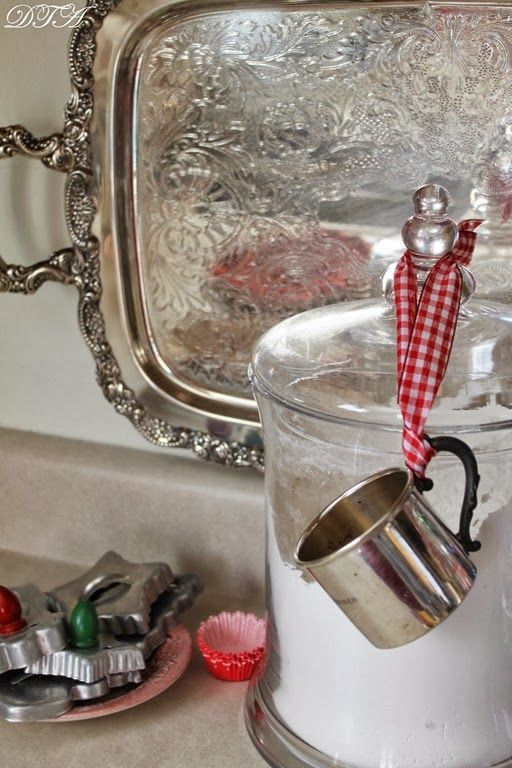 Silver baby cup used as a scoop & measure. Great idea! - Decor to Adore
