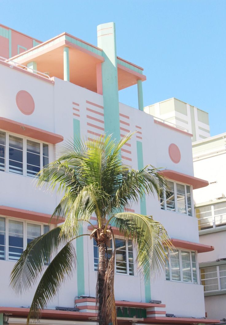 Colorful Miami Art Deco buildings