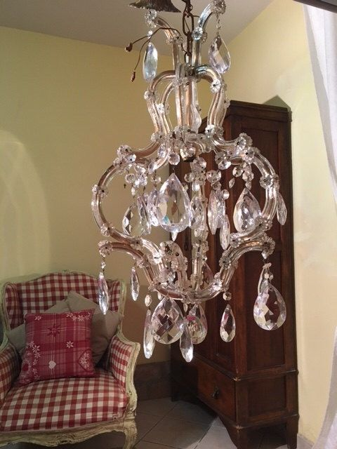 Lighting, Vintage Crystal Italian Maria Theresa Chandelier by TheEnglishSisters on Etsy https://www.etsy.com/listing/257632027/lighting-vintage-crystal-italian-maria