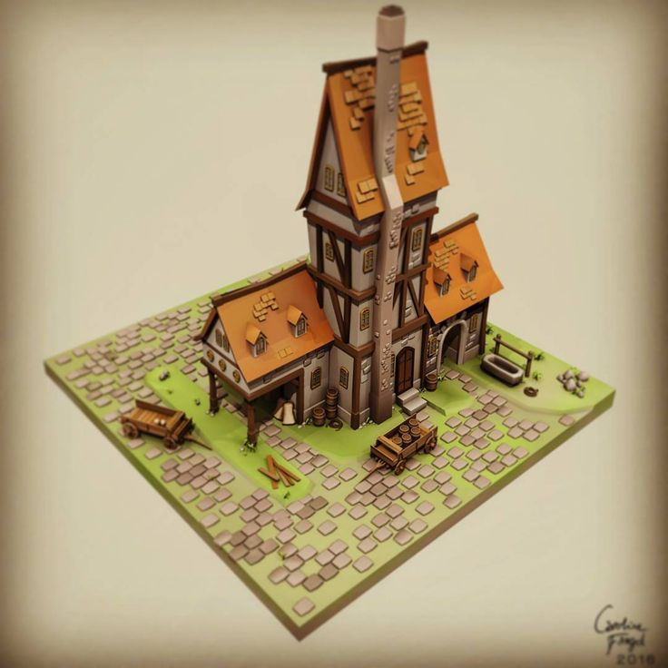 A simple model of a #fantasy Inn.  Finally figured out how to render #vertexcolor in #Maya! Been taking ages to get this model out :D not made for any specific production, just my own pleasure of not making textures for a huge building!  #3D #gameart #3dmodeling #environmentart #games
