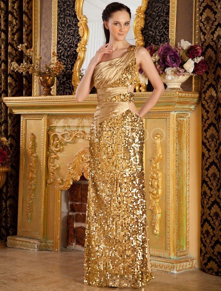 Vestido de baile de cetim elástico tecido de pano bainha Lantejoula espaguete dourado - Milanoo.com