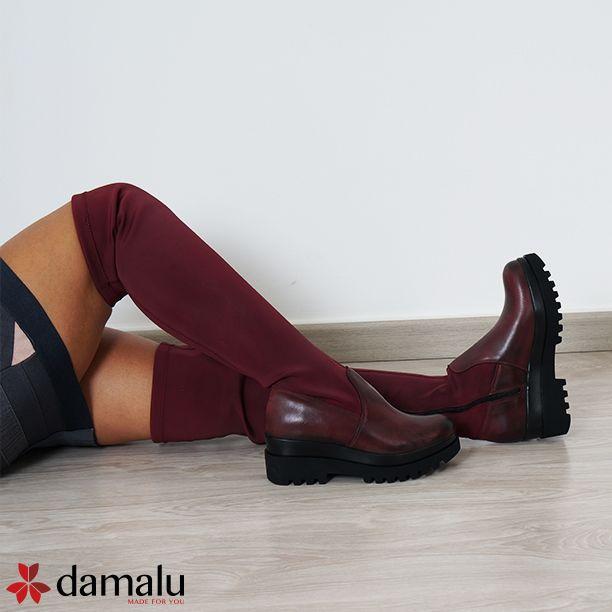 Stivali donna elasticizzati con zeppa alta , alti fino al ginocchio, Stivali invernali alla moda made in Italy
