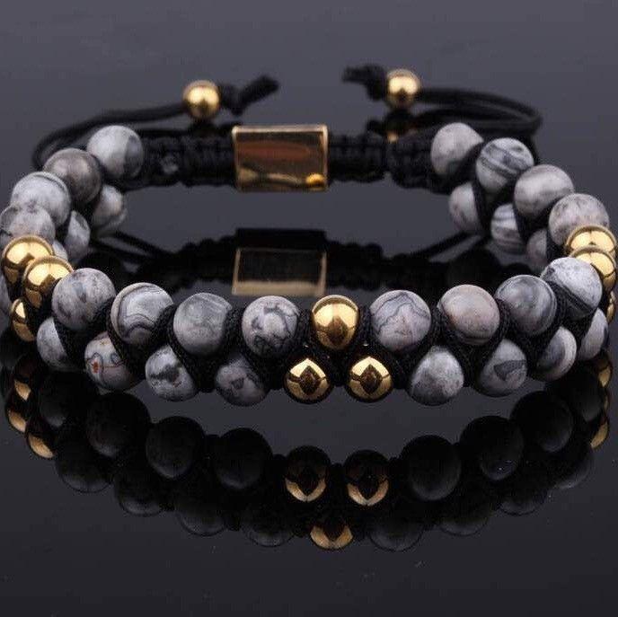 PRE-ORDER : Grey Jasper Double Beaded Bracelet 6mm