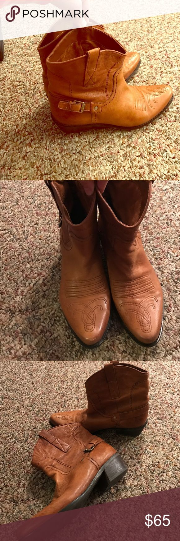 Franco Sarto ankle cowboy boots 8.5 Franco Sarto 8.5 cowboy boots. Great condition wore twice really soft good leather. Women's size 8.5 color is camel color Franco Sarto Shoes Ankle Boots & Booties