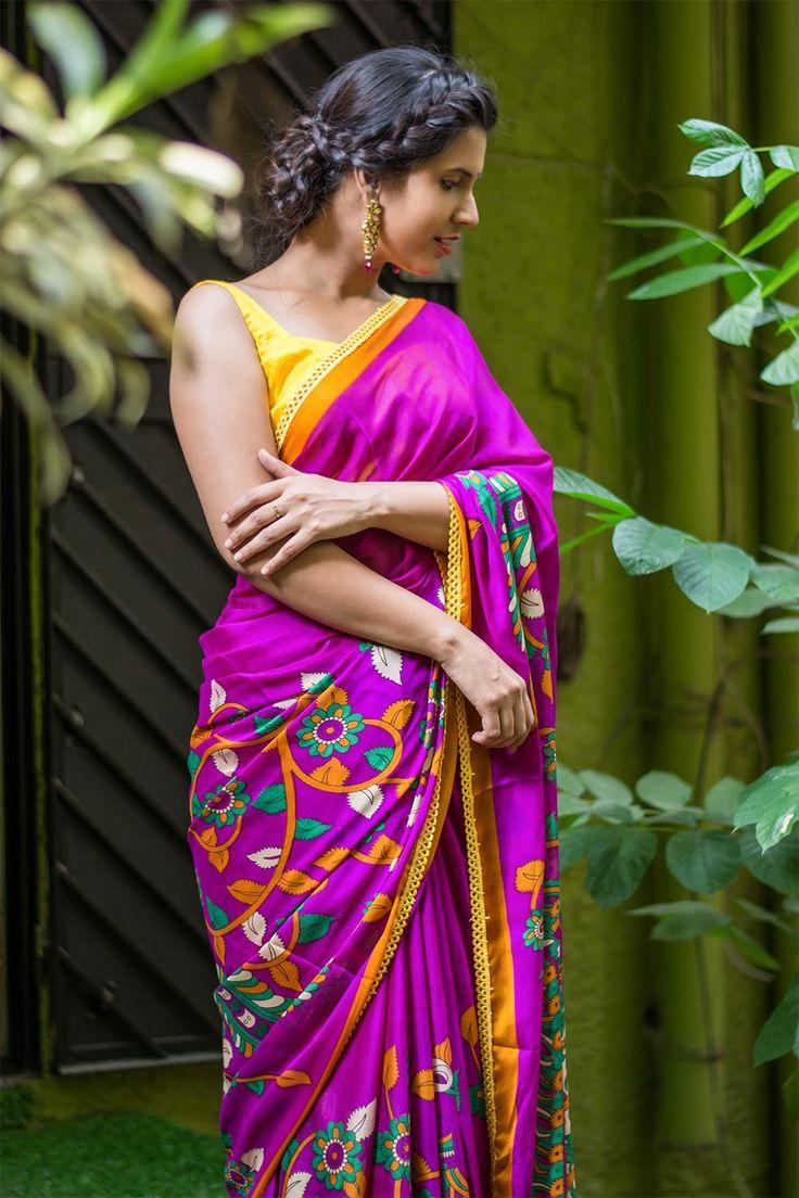 Pinkish purple Kalamkari printed semi crepe saree with mustard border and yellow lace edging  #saree #blouse #houseofblouse #indian #bollywood #style #pink #purple #green #mustard #semi #crepe #printed #kalamkari