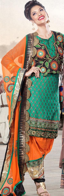 $113.67 Blue Full Sleeve Brocade Knee Length Punjabi Salwar Kameez 18276