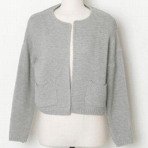 Amazon.co.jp: ポケット付きシンプルショート丈長袖カーディガン レディースファッション (グレー): 服&ファッション小物通販