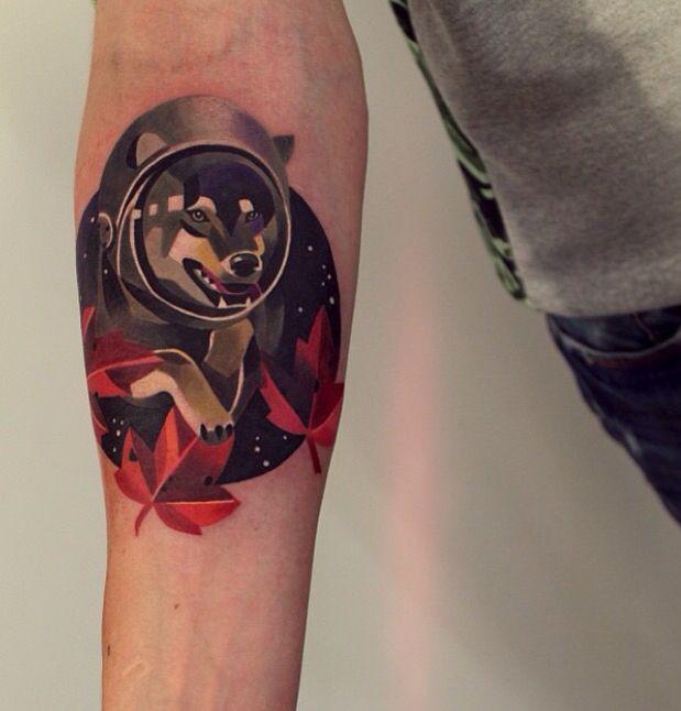 37a03c4c886b0 Space dog tattoo | Tattoo | Forearm tattoos, Color tattoo, Black watercolor  tattoo