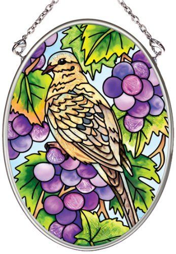 Amia Hand Painted Glass Suncatcher with Grapevine Dove Design, 3-1/4-Inch by 4-1/4-Inch Oval by Amia. $11.00. Includes chain. Comes boxed, makes for a great gift. Handpainted glass. Amia glass is a top selling line of handpainted glass decor. Known for tying in rich colors and excellent designs, Amia has a full line of handpainted glass pieces to satisfy your decor needs. Items in the line range from suncatchers, window decor panels, vases, votives and much more.