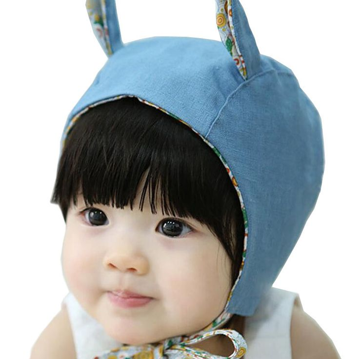 Cute Rabbit Long Ear Baby Caps for Girls Cotton Lace-up Hat Kids Bonnet Enfant Blue/Beige for 0-2 Years
