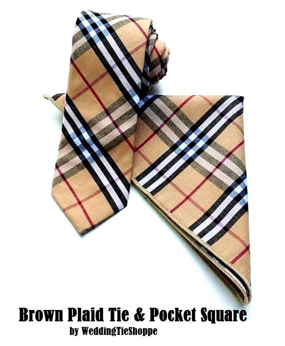 Wedding Tie Brown Tan Gold Plaid Necktie Bowtie or Pocket