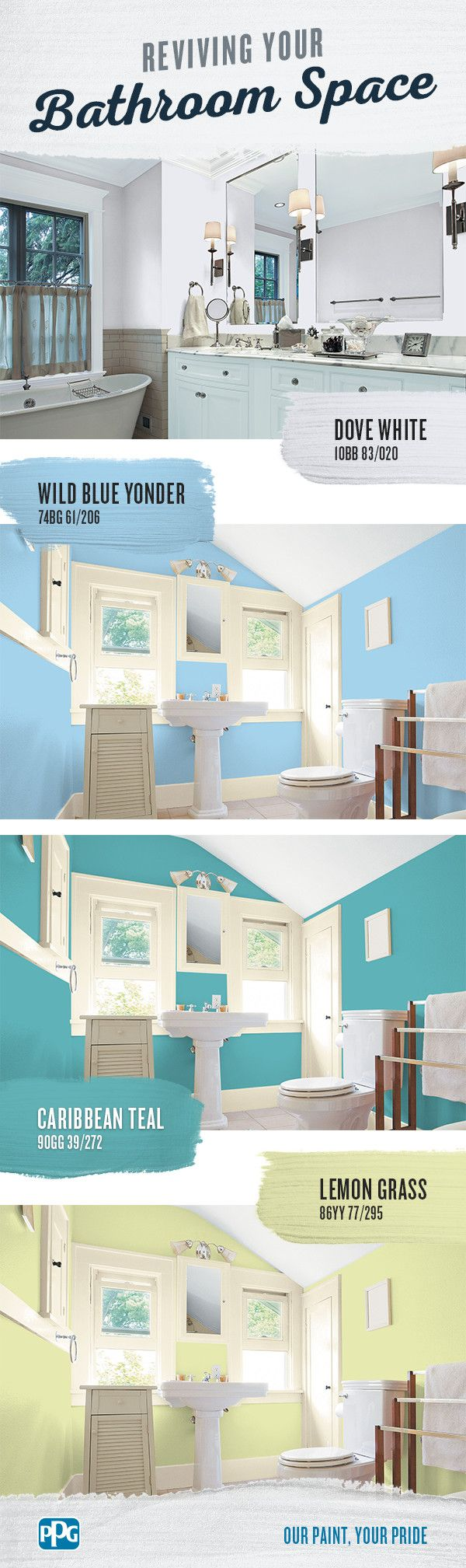 Reviving Your Bathroom Space | If you're looking to freshen your bathroom with a new paint job, the sheer number of color options can be overwhelming. Before you get frustrated with your search, consider these colors for a space you'll love for years.