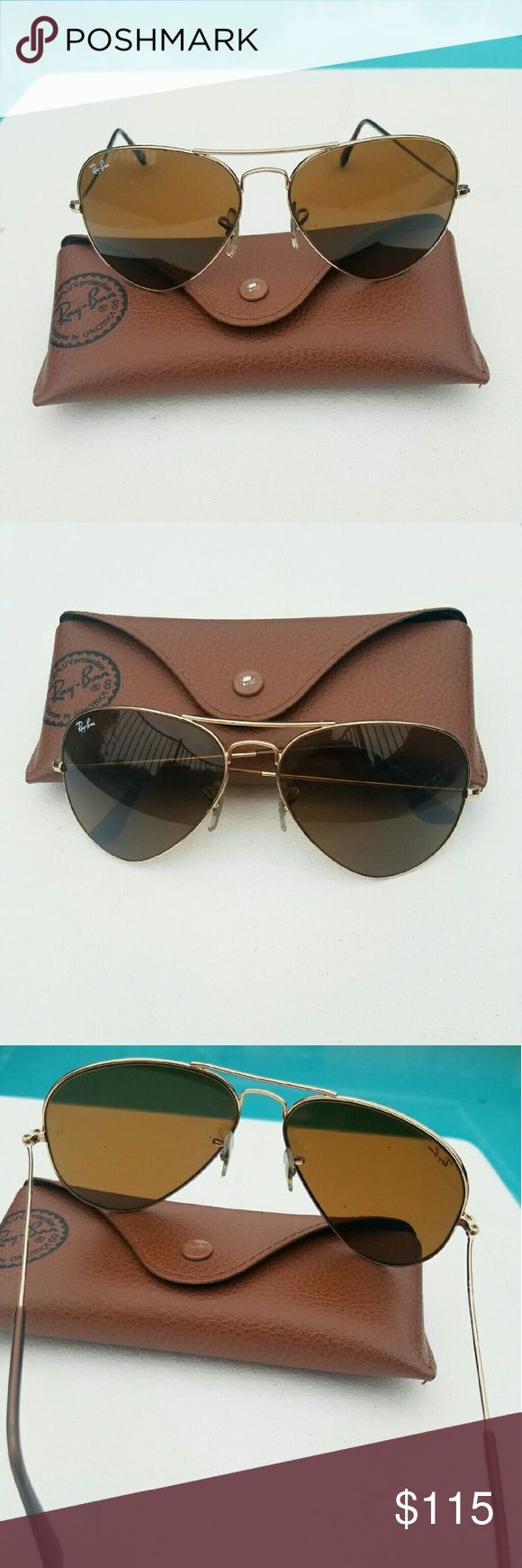 Rayban sunglasses RB 3025 Aviator Large metal 58mm Authentic Rayban sunglasses RB 3025 Aviator Large metal 58mm. Some very tiny minor dents on the bottom of the frame. Normal scartch on the lens but not affect and noticeable while wearing. It's good used