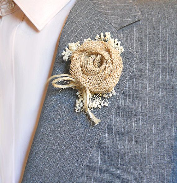 Country Burlap Rose Boutonniere Groom and Groomsmen by PapernLace