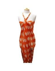 Orange & White Big Polka Dot Oversized Shawl Pareo Wrap Scarf