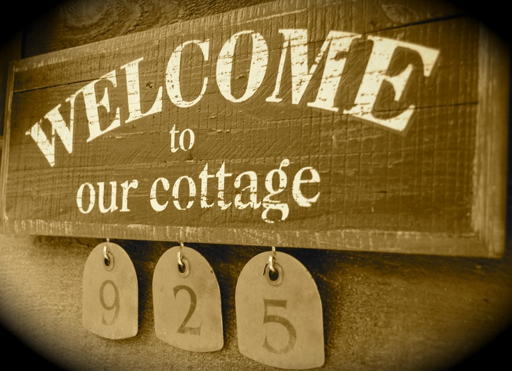 Welcome to Our Cottage with House Numbers l Beach Cottage Signs l www.CarolinaDesigns.com