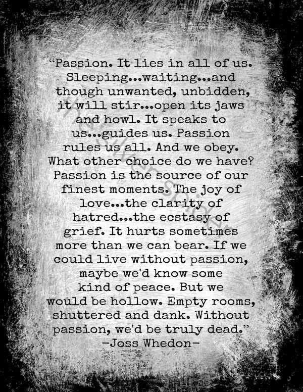 """Passion..... without that, life does start to feel hollow and dead...it's so great to feel that feeling of passion, even of falling in love with whatever, except for as the poet says """"I was never insane except upon occasions when my heart was touched"""" Edgar Allan Poe ;o)"""