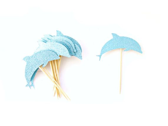 12 Aqua Glitter Dolphin Cupcake Toppers  Nautical by Pelemele