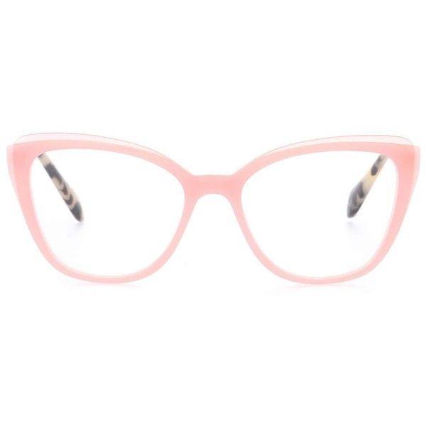 Miu Miu Cat-Eye Glasses ($325) ❤ liked on Polyvore featuring accessories, eyewear, eyeglasses, glasses, sunglasses, pink, pink glasses, pink eyeglasses, cat eye glasses and miu miu eyewear