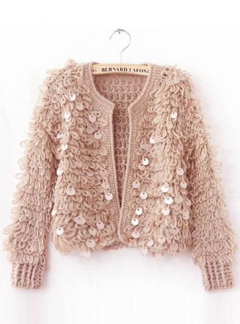 Vintage Sequins Plush Fluffy Knitting Short Sweater