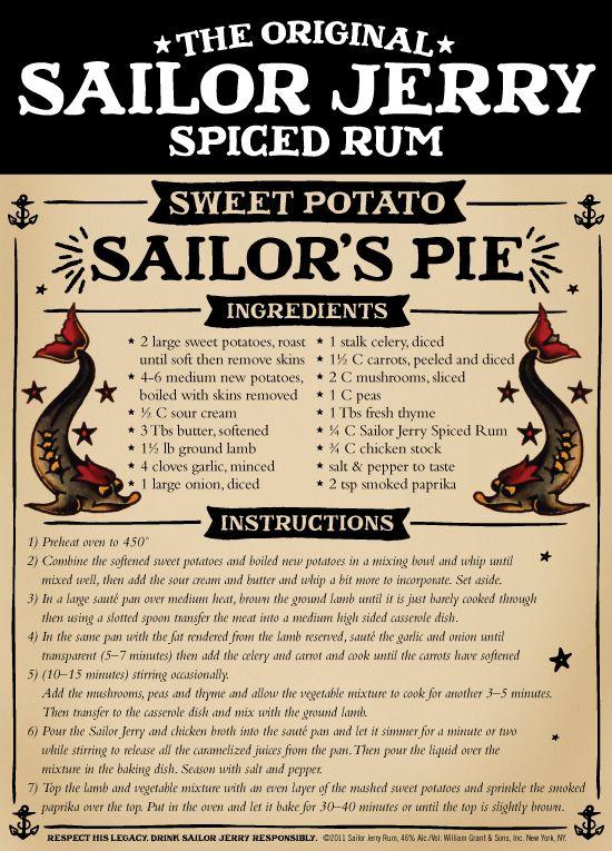 Sailor Jerry Spiced Rum Sweet Potato Sailor's Pie.... MMMMMMMM
