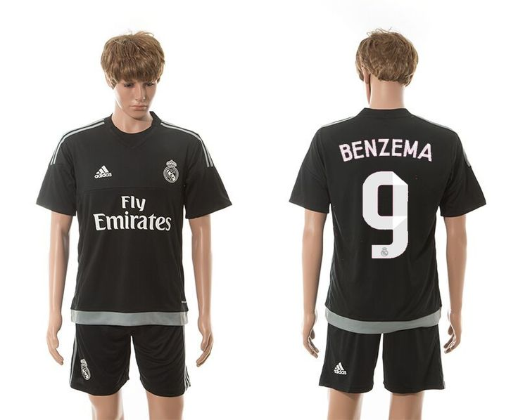2015-2016 Real Madrid #9 BENZEMA UCL Away Black Third Soccer Jersey
