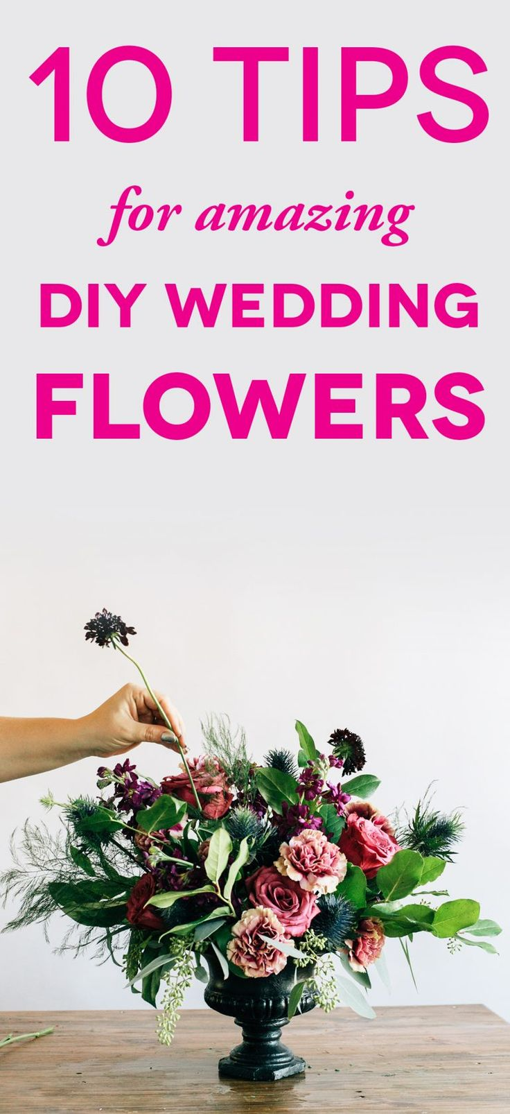 picture of someone arranging flowers with text