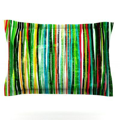 KESS InHouse Fancy Stripes by Frederic Levy-Hadida Featherweight Pillow Sham Size: King, Color: Green, Fabric: Cotton